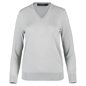 Women`s Pima Cotton V-Neck Top Light Gray Heather