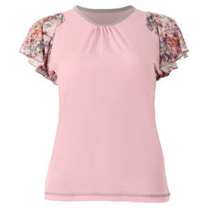 Women`s Blossom Mock Sleeve Tennis Top Petal Pink