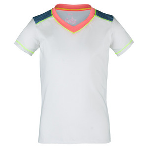 Girls` V-Neck Cap Sleeve Tennis Top White and Chambray