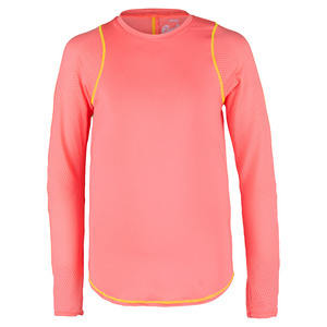 Girls` Long Sleeve Tennis Crew Lava
