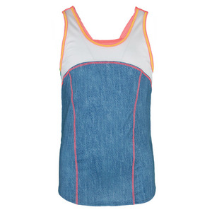 Girls` High Neck Tennis Cami Tank Chambray