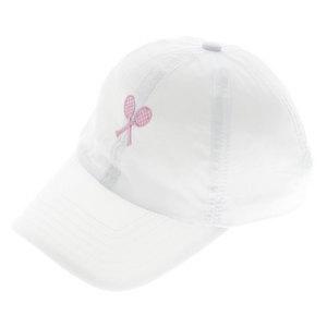LITTLE MISS TENNIS GIRLS TENNIS CAP WHITE W/PINK RACQUETS