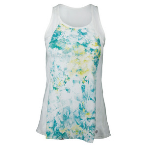 Women`s Flutter Tennis Tank Print and White