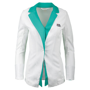 Women`s Marion Bartoli Tennis Blazer White and Dynasty Green