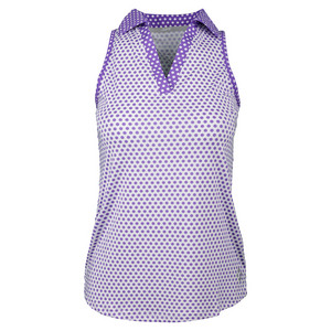 Women`s Tech Cutaway Tennis Polo White Swiss Dot