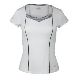 Women`s Gingham Short Sleeve Tennis Top
