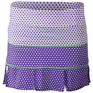 Women`s Panel Tennis Skort White Swiss Dot