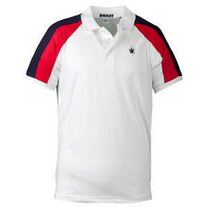 Men`s Panelled Sleeve Tennis Polo White and Red