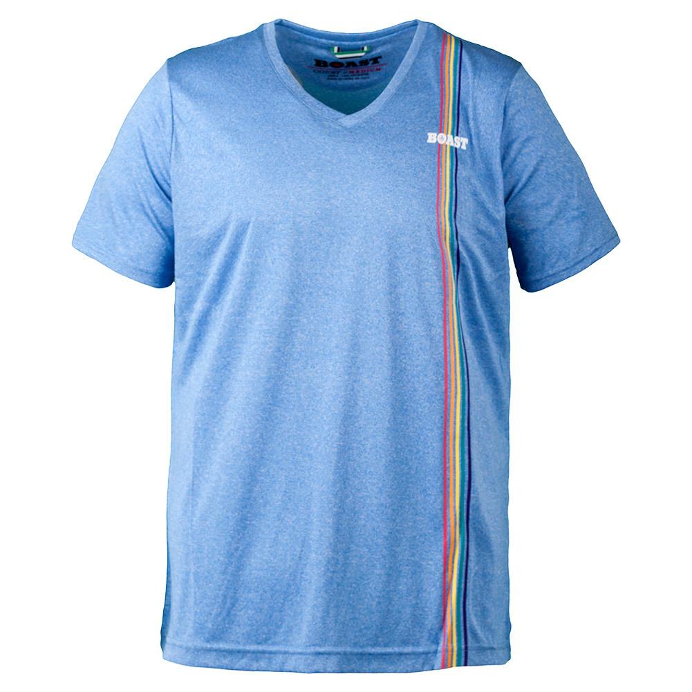Men's Multi Striped V- Neck Tennis Top Carolina Blue