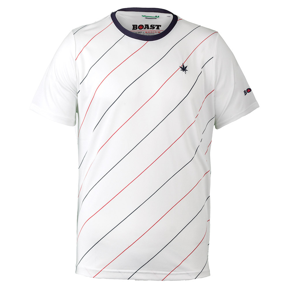 Men``s Angle Striped Court Tennis Crew White