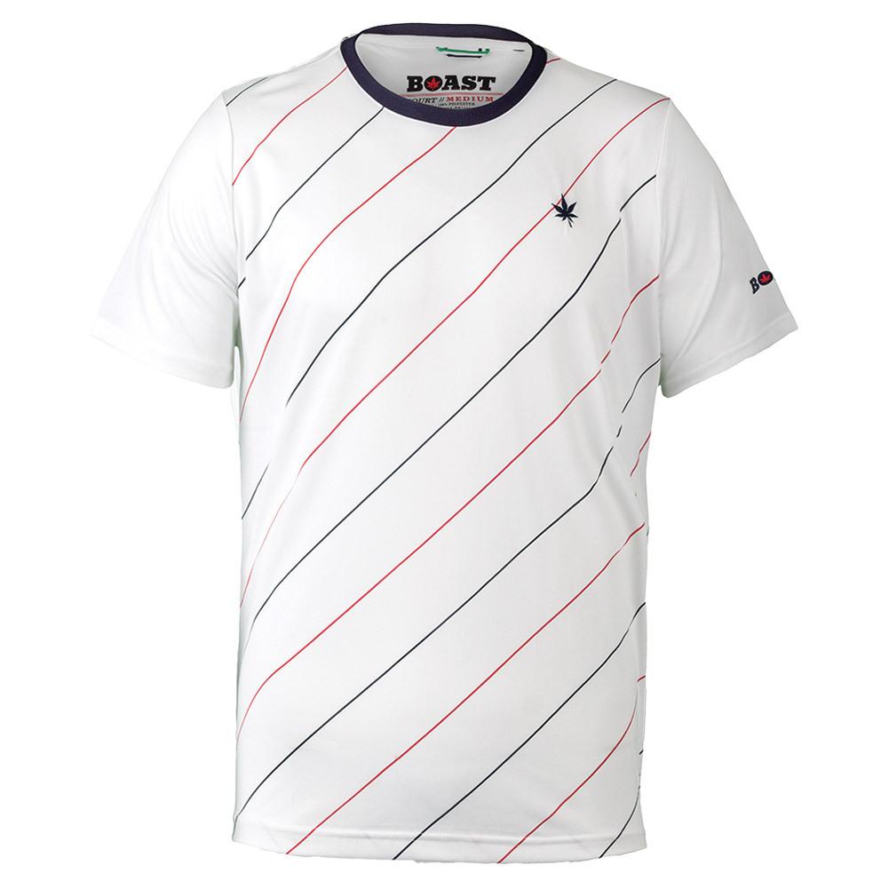 Men``s Angle Striped Court Tennis Crew White