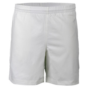 Men`s Double Piped 7 Inch Court Tennis Short White and Red