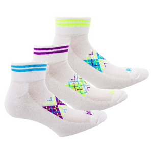 Women`s Sport Quarter Argyle Tennis Socks 3 Pack Assorted