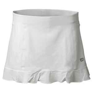 Women`s Ruffle Stretch Woven 12.5 Inch Tennis Skort White