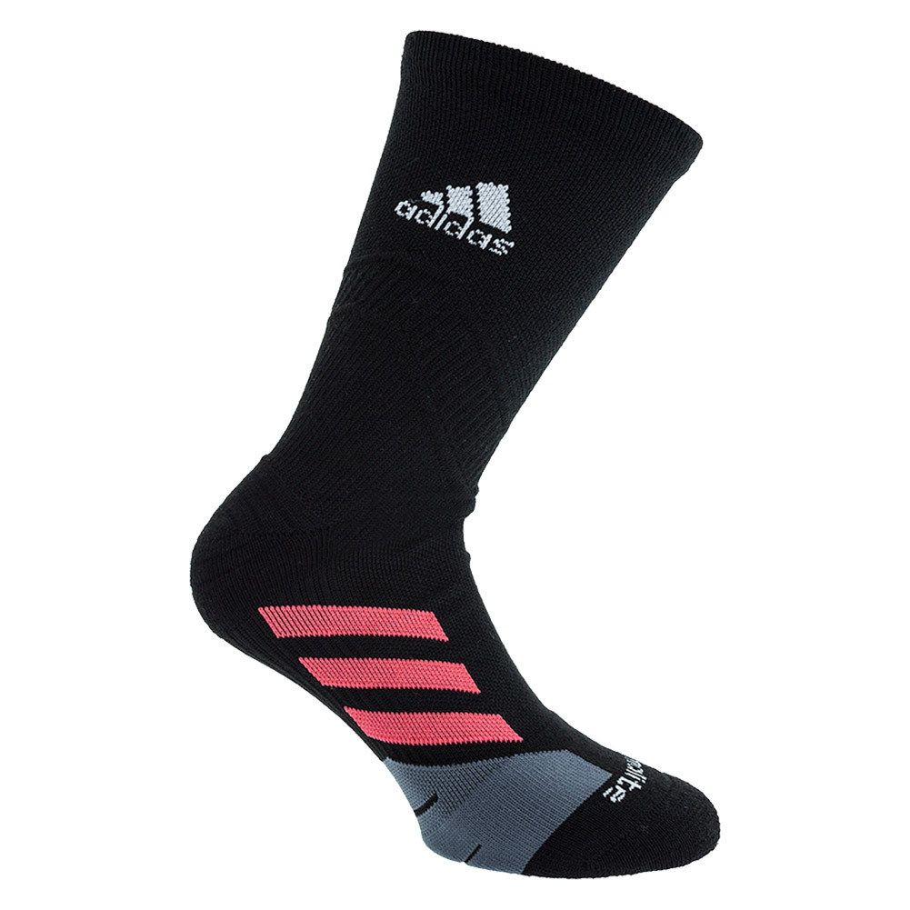 Traxion Tennis Crew Socks Black And Shock Red