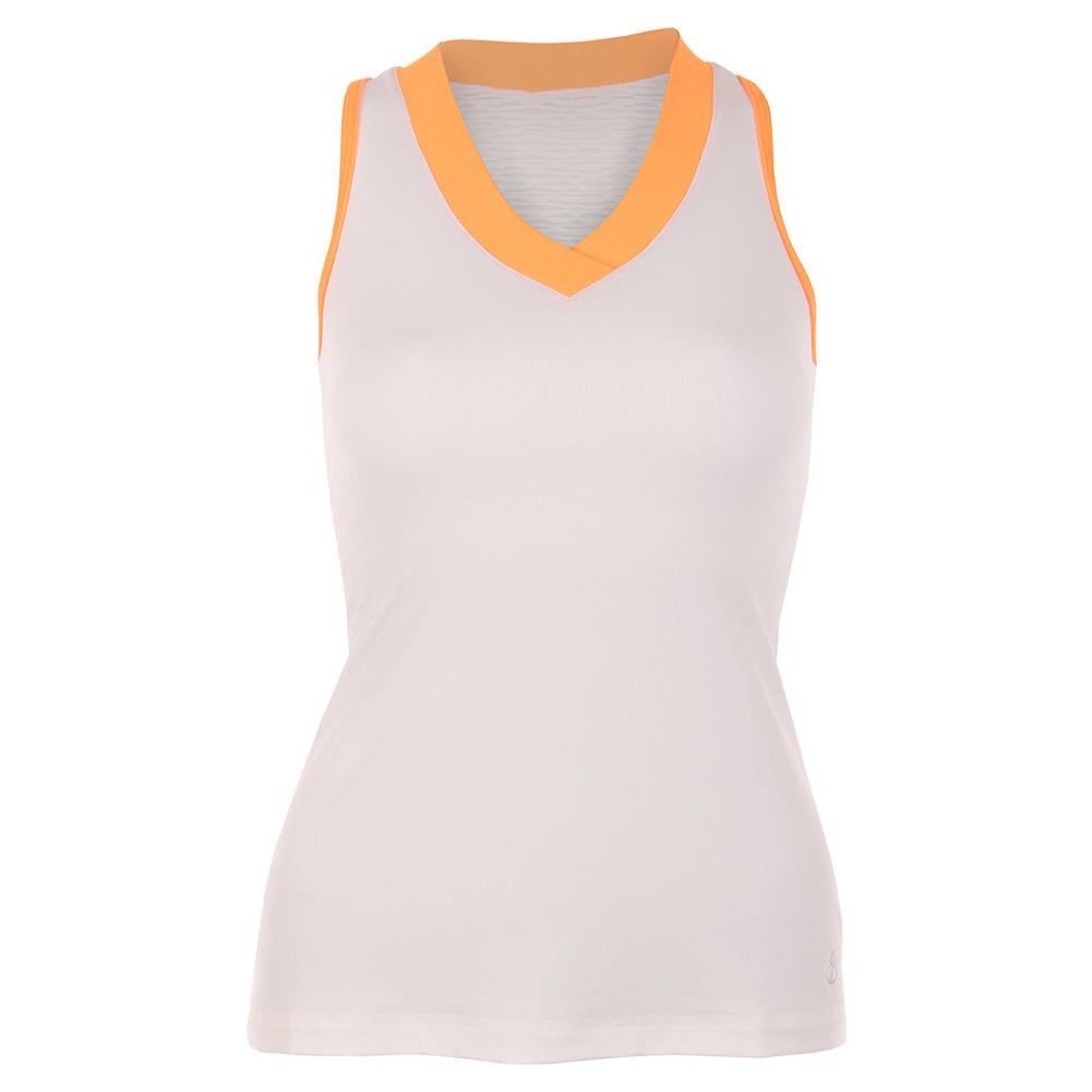 Women's Racerback Tennis Tank White And Paperino Mesh