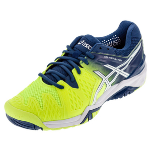 Men`s Gel-Resolution 6 Tennis Shoes Safety Yellow and White