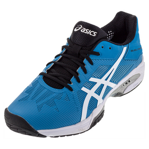 Men`s Gel-Solution Speed 3 Tennis Shoes Blue Jewel and White
