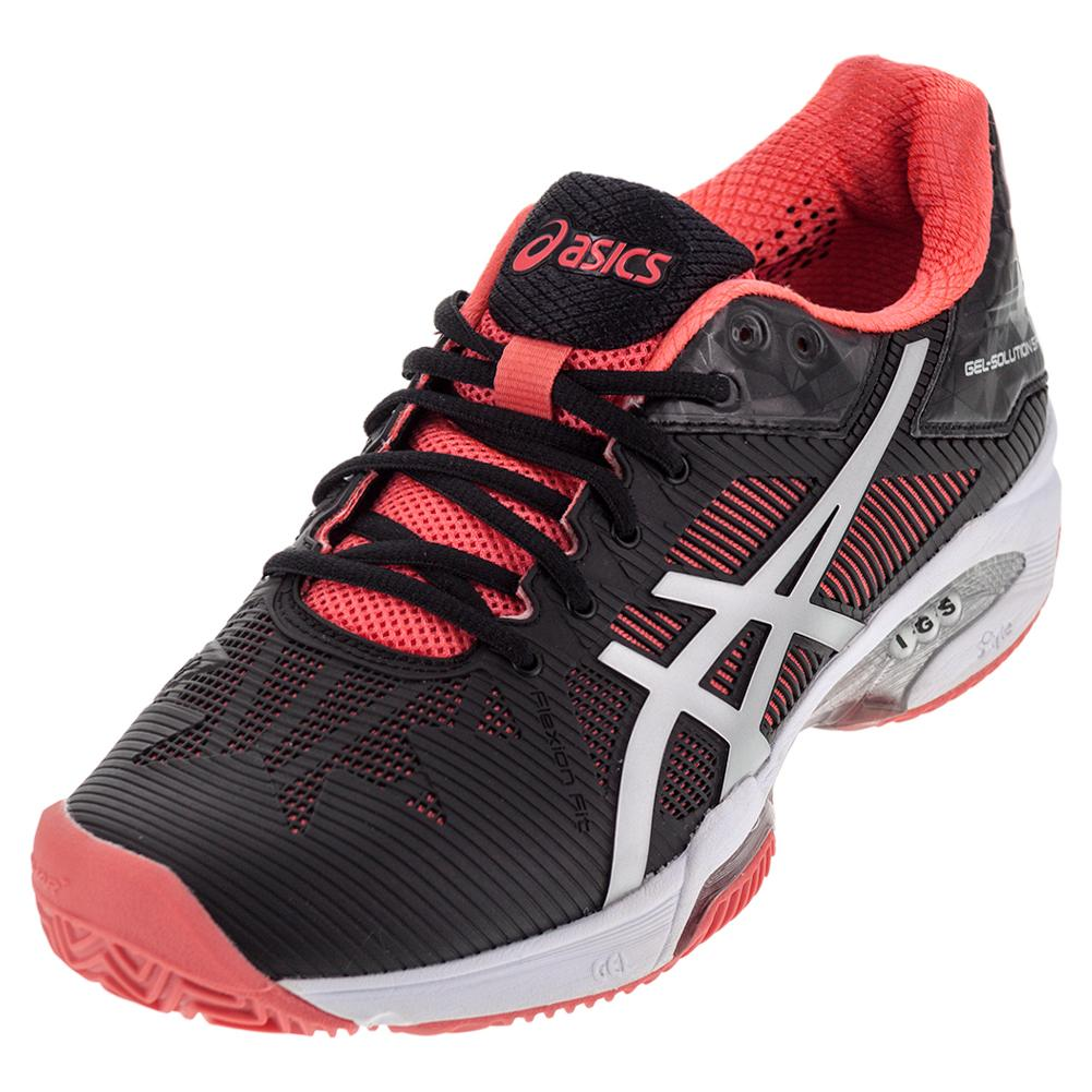 27fac47ec Asics Women's Gel-Solution Speed 3 Clay Tennis Shoes Black and Diva Pink