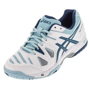 Women`s Gel-Game 5 Tennis Shoes White and Blue Steel