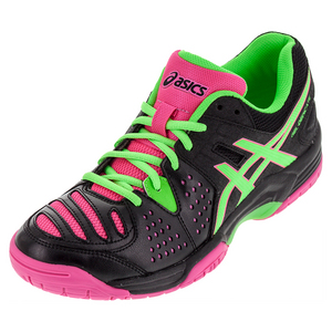 Women`s Gel-Dedicate 4 Tennis Shoes Black and Green Gecko