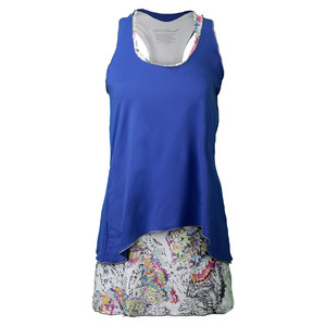 DENISE CRONWALL WOMENS TENNIS DRESS BLUE/EDGE PRINT