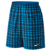 NIKE Men`s Court 9 Inch Plaid Tennis Short Light Photo Blue and White