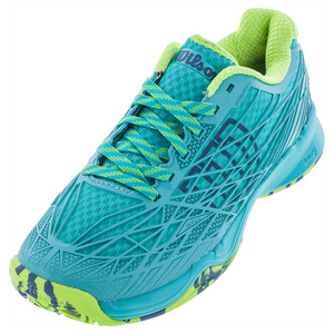 Women`s Kaos All Court Tennis Shoes Teal Blue and Granny Green