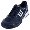 WILSON Men`s Rush Pro 2.0 All Court Tennis Shoes Navy and Cool Mint