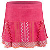 LUCKY IN LOVE Women`s Long Summer Lovin` Tier Tennis Skort Hibscus Linen