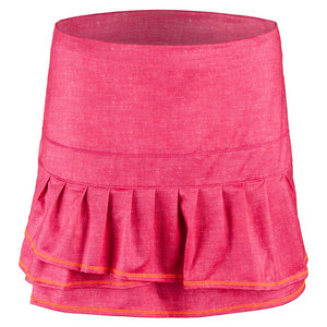Women`s Long Pleated Tier Tennis Skort Hibiscus Linen