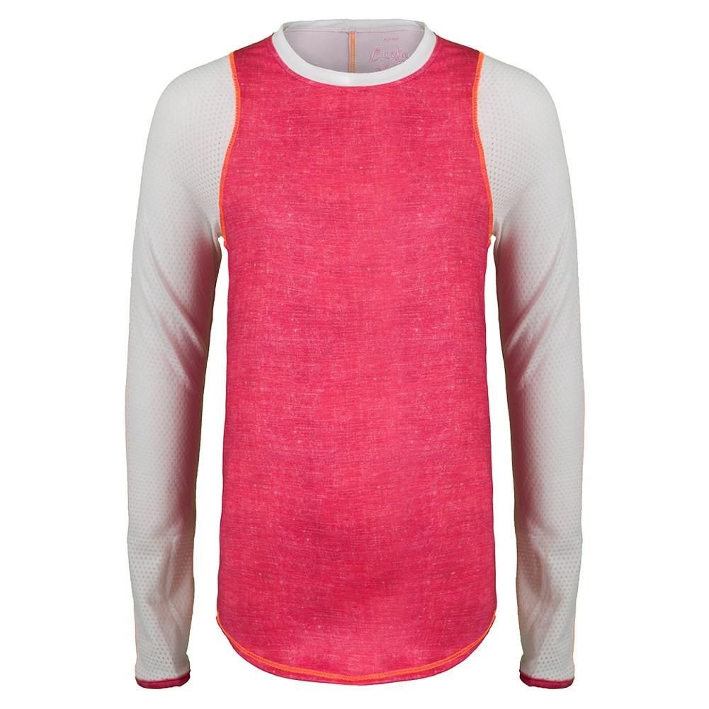 Girls ` Long Sleeve Tennis Crew Hibiscus Linen