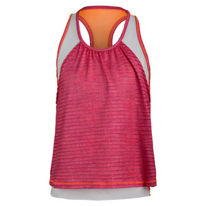 Girls` Shadow Stripe Layer Tennis Crop Hibiscus Linen