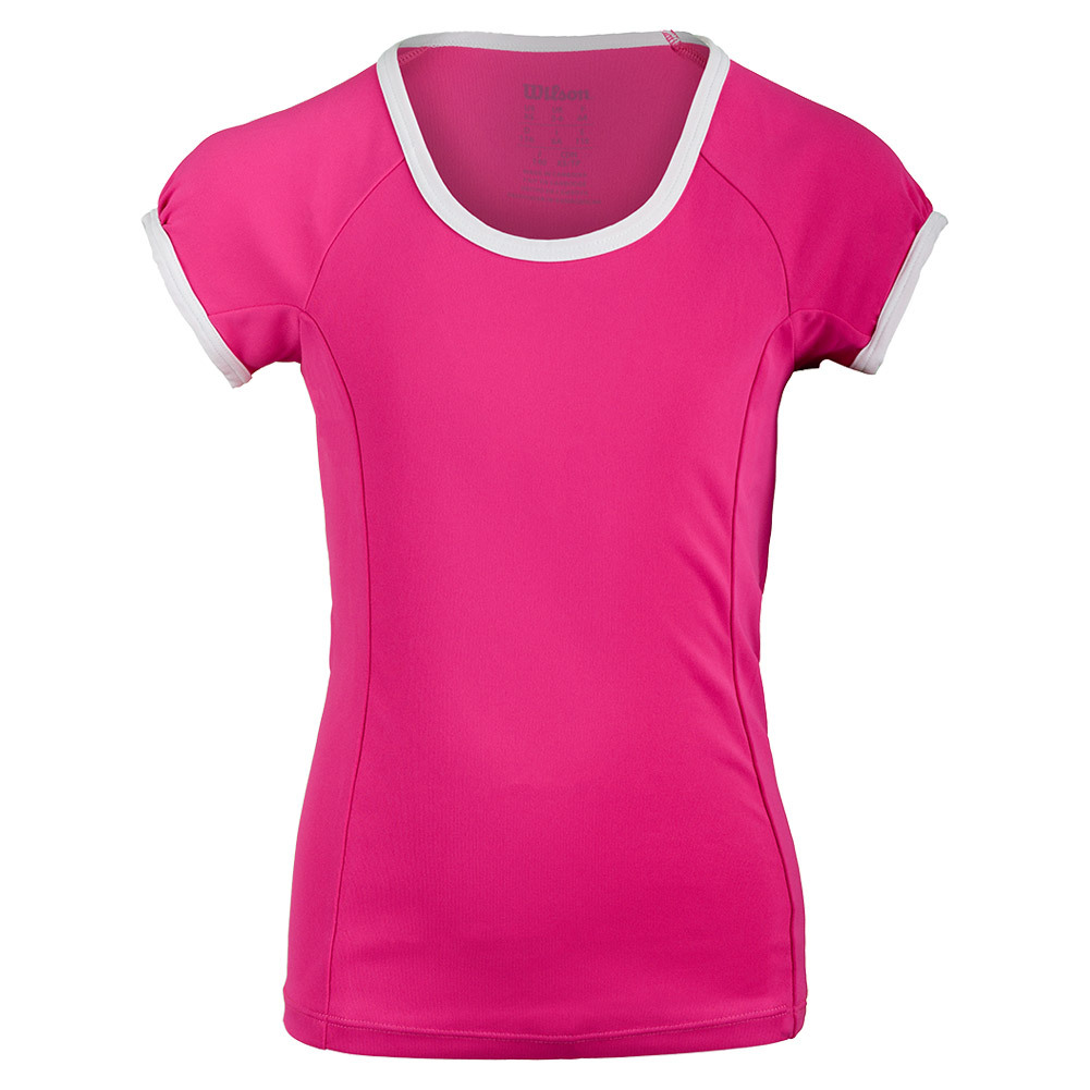 Girls ` Nvision Elite Cap Sleeve Tennis Top Pink Glo