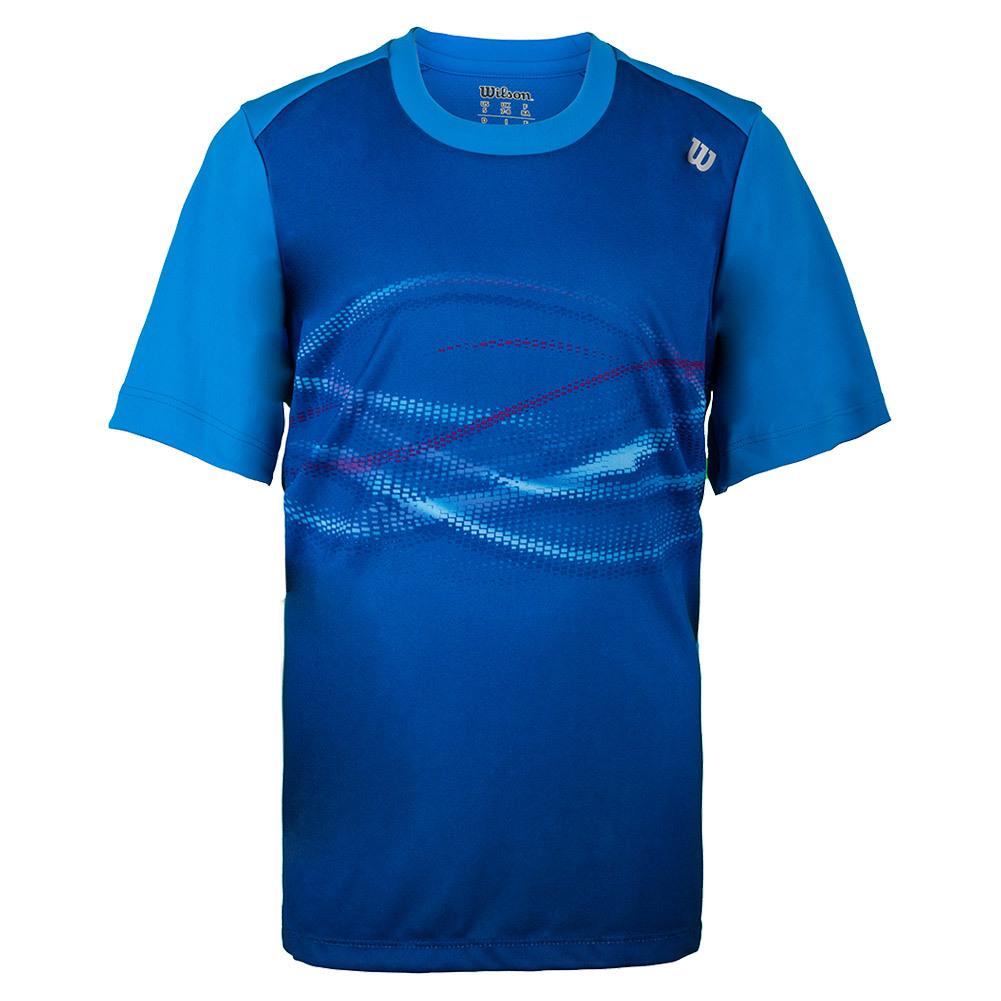 Boys'soundwave Print Tennis Crew Neptune Blue