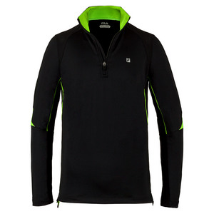 FILA MENS ALPHA QUARTER ZIP TNS TOP BLACK