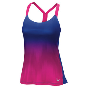 Women`s Ikat Print Tennis Tank Surf the Web and Pink Glo
