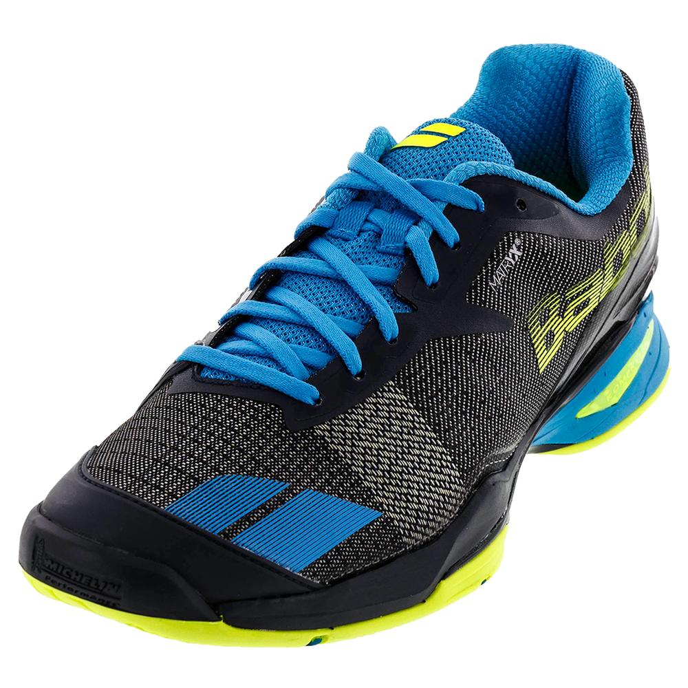 Mens Jet All Court Tennis Shoes Blue And Yellow