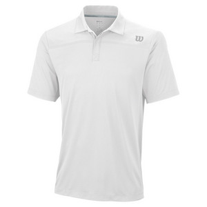 WILSON MENS KNIT-STRETCH WOVEN TENNIS POLO WHIT