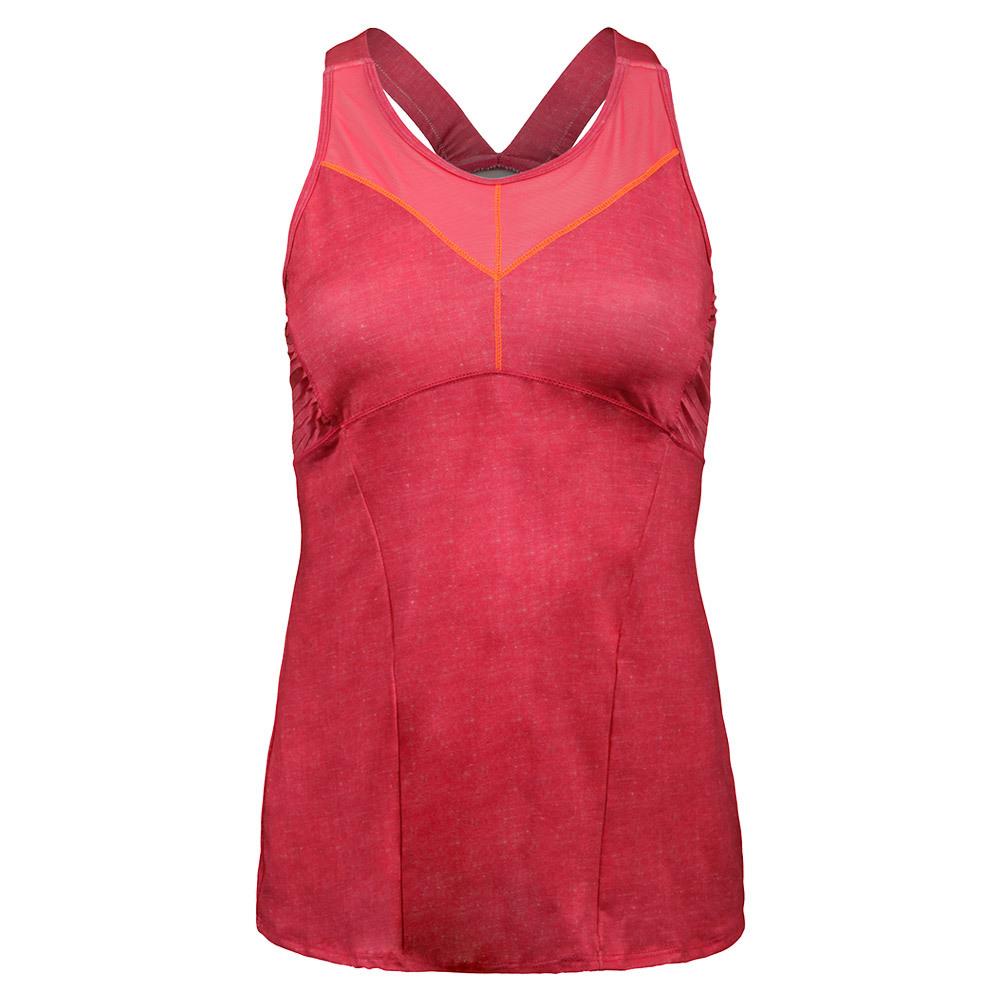 Women's Mesh V- Cami Tennis Top Hibiscus Linen