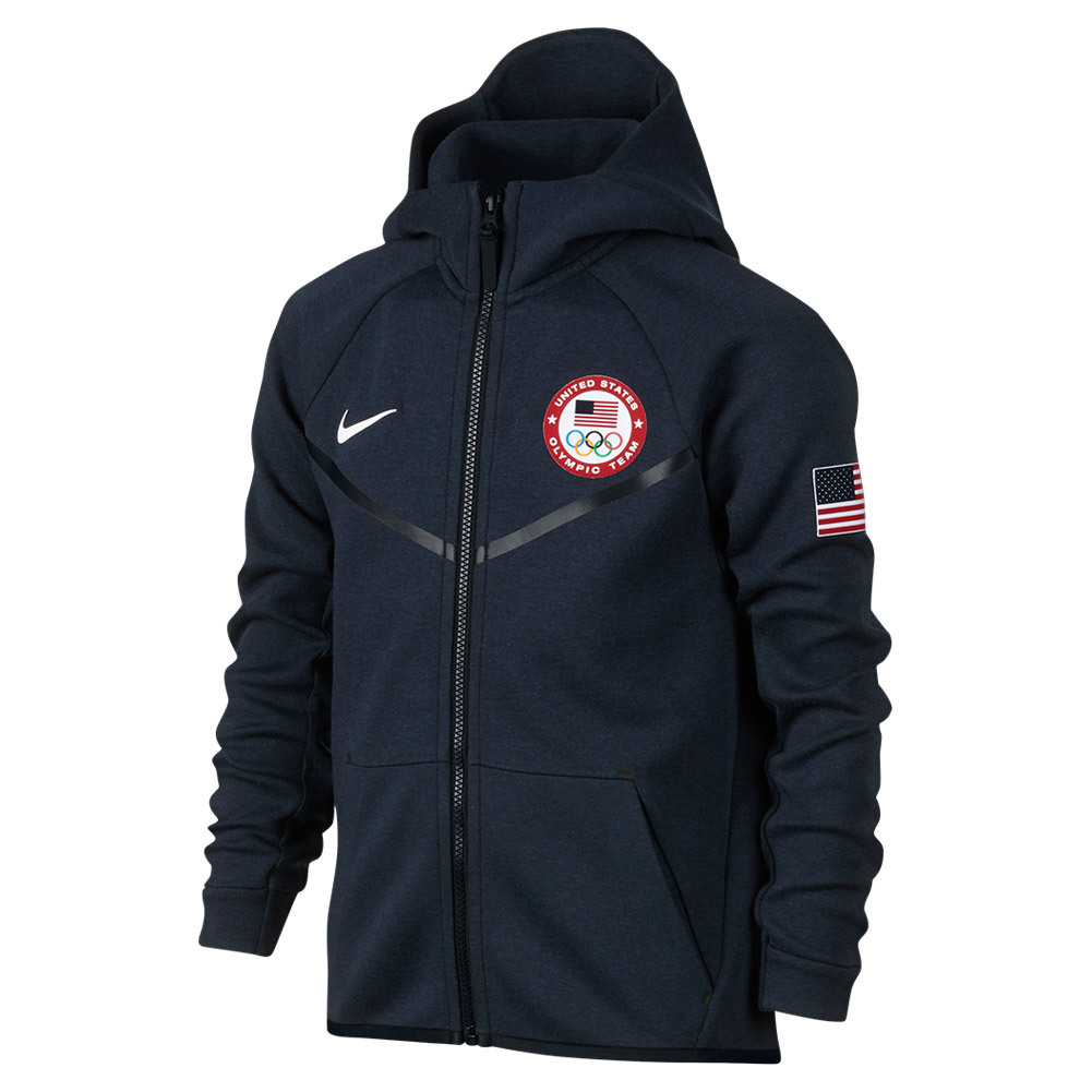 Boys ` Team Usa Fleece Training Hoodie Obsidian Heather