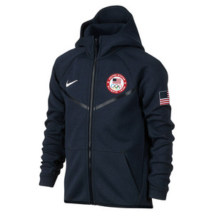 Boys` Team USA Fleece Training Hoodie Obsidian Heather