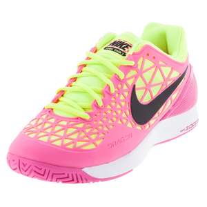 Women`s Zoom Cage 2 Tennis Shoes Pink Blast and Volt