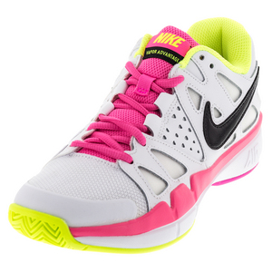 Women`s Air Vapor Advantage Tennis Shoes White and Volt