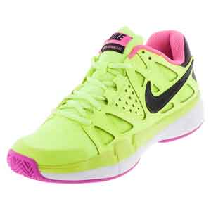 Women`s Air Vapor Advantage Tennis Shoes Volt and Pink Blast