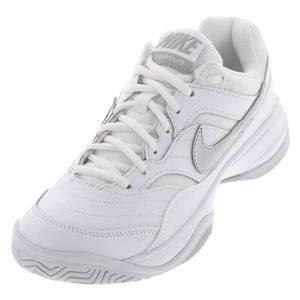 Women`s Court Lite Tennis Shoes White and Medium Gray