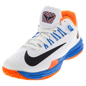 Men`s Lunar Ballistec 1.5 Tennis Shoes White and Total Orange