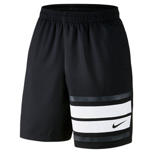 Men`s Court Graphic 9 Inch Tennis Short Black and White