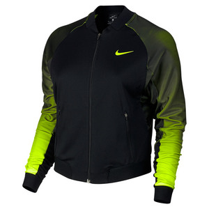 NIKE WOMENS COURT TENNIS JACKET BLACK/VOLT