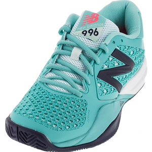 Women`s 996v2 B Width Tennis Shoes Teal and Navy